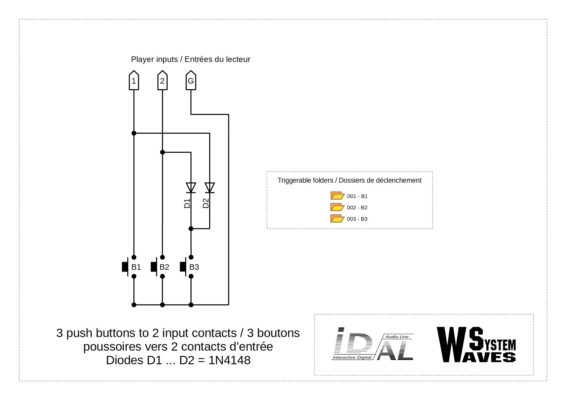Chronoplayer Contact Wiring Diagram 3 Push Buttons To 2 Input Contacts With Diodes