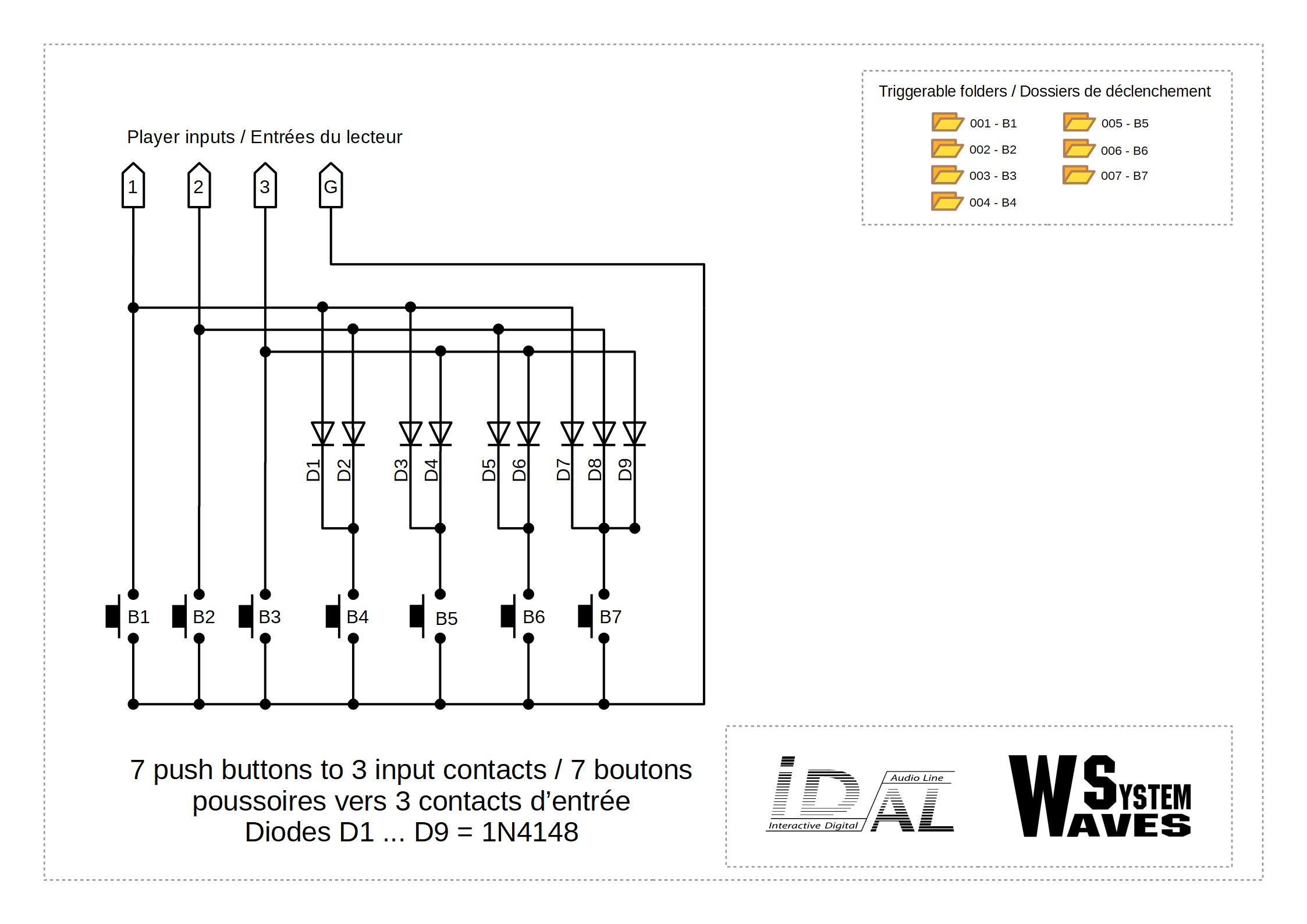 Micro Player Mkiii Diode Wiring Diagram 7 Push Buttons To 3 Input Contacts With Diodes
